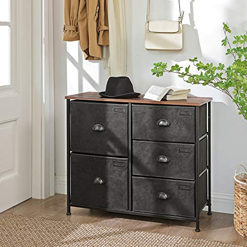 Hallway Nursery Wooden Top Closet Storage Drawers Labels 6-Drawer Wide Storage Dresser Silver Gray and Gray ULVT23G for Closet with Metal Frame SONGMICS Fabric Drawer Dresser