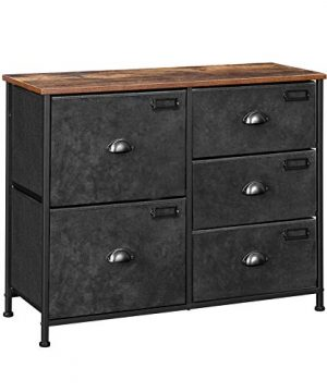 SONGMICS Wide Dresser Fabric Drawer Dresser With 5 Drawers Industrial Closet Storage Drawers With Metal Frame Wooden Top Closet Organizer For Hallway Nursery Rustic Brown And Black ULVT05H 0 300x360