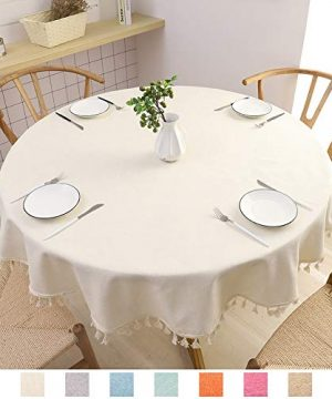 SPRICA Round Tablecloth Cotton Linen Tassel Table Cover For Kitchen Dinner Table Decorative Solid Color Table Desk CoverDiameter 60 Beige 0 300x360
