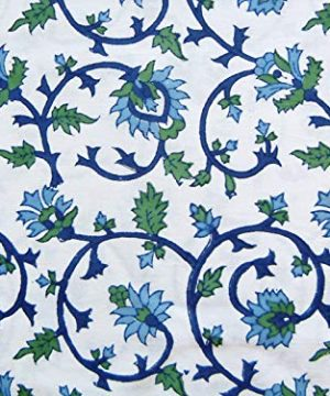 Saffron Marigold Blue White Floral Tablecloth Moonlit Taj Hand Printed Washable Cotton Voile Turquoise Flower Intricate Elegant Damask Indian Banquet Table Cover 70 Round 0 0 300x360