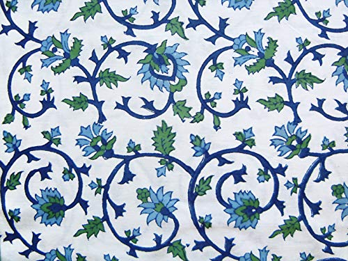 Saffron Marigold Blue White Floral Tablecloth Moonlit Taj Hand Printed Washable Cotton Voile Turquoise Flower Intricate Elegant Damask Indian Banquet Table Cover 70 Round 0 0