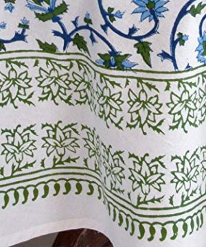 Saffron Marigold Blue White Floral Tablecloth Moonlit Taj Hand Printed Washable Cotton Voile Turquoise Flower Intricate Elegant Damask Indian Banquet Table Cover 70 Round 0 1 300x360