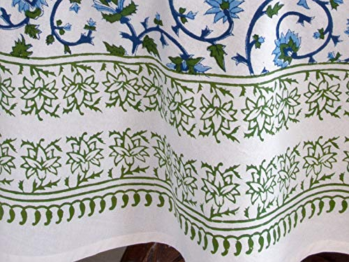 Saffron Marigold Blue White Floral Tablecloth Moonlit Taj Hand Printed Washable Cotton Voile Turquoise Flower Intricate Elegant Damask Indian Banquet Table Cover 70 Round 0 1