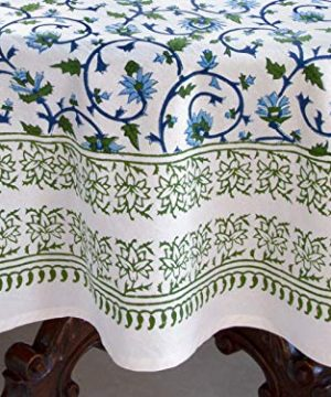 Saffron Marigold Blue White Floral Tablecloth Moonlit Taj Hand Printed Washable Cotton Voile Turquoise Flower Intricate Elegant Damask Indian Banquet Table Cover 70 Round 0 2 300x360