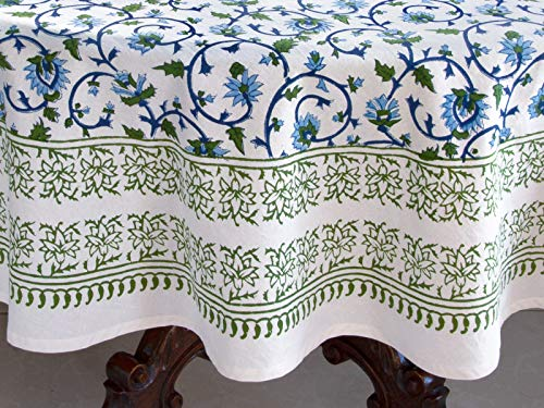 Saffron Marigold Blue White Floral Tablecloth Moonlit Taj Hand Printed Washable Cotton Voile Turquoise Flower Intricate Elegant Damask Indian Banquet Table Cover 70 Round 0 2