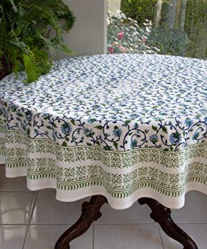 Saffron Marigold Blue White Floral Tablecloth Moonlit Taj Hand Printed Washable Cotton Voile Turquoise Flower Intricate Elegant Damask Indian Banquet Table Cover 70 Round 0 300x360
