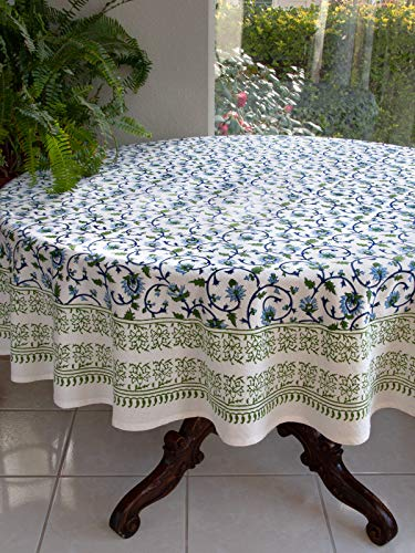 Saffron Marigold Blue White Floral Tablecloth Moonlit Taj Hand Printed Washable Cotton Voile Turquoise Flower Intricate Elegant Damask Indian Banquet Table Cover 70 Round 0