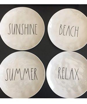 Set Of 4 Rae Dunn 8 Melamine Plates Sunshine Beach Summer Relax Artisan Collection By Magenta 0 300x360