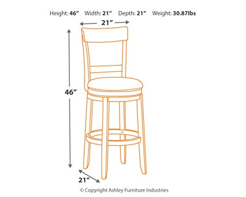 Signature Design By Ashley Drewing Bar Stools Bar Height Open Back Set Of 2 Brown 0 2