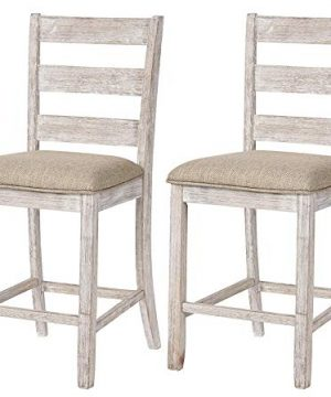 Signature Design By Ashley Skempton Upholstered Barstool Set Of 2 Ladder Back Casual Style Antique White 0 300x360