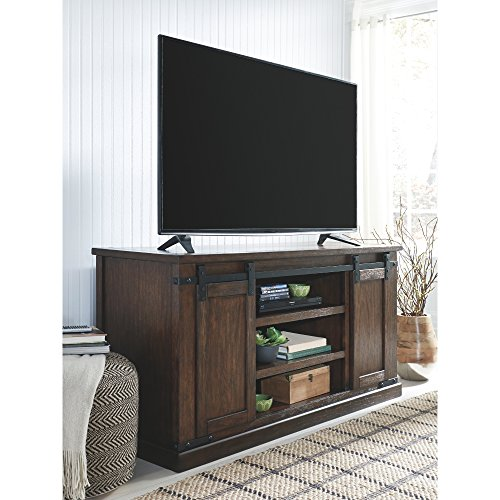 Signature Design By Ashley Budmore Large TV Stand Rustic Brown 0 0