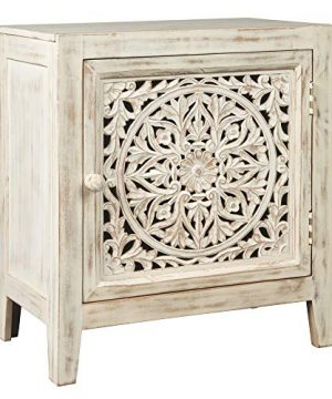 Signature Design By Ashley Fossil Ridge Accent Cabinet Boho Chic Carved Floral Design White 0 300x360
