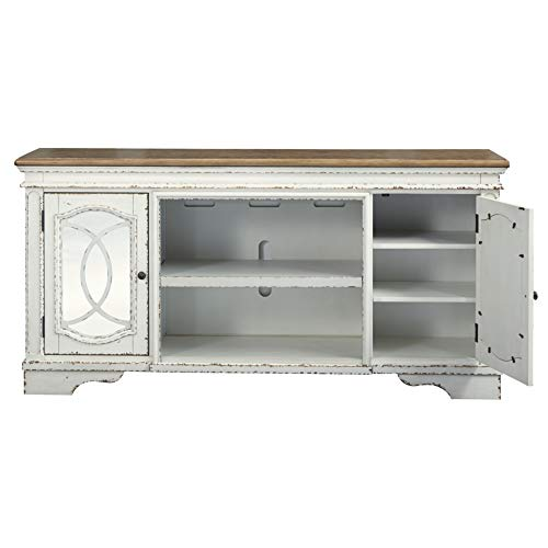 Signature Design By Ashley Realyn Extra Large TV Stand With Fireplace Option Chipped White 0 0