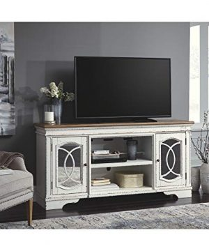 Signature Design By Ashley Realyn Extra Large TV Stand With Fireplace Option Chipped White 0 2 300x360