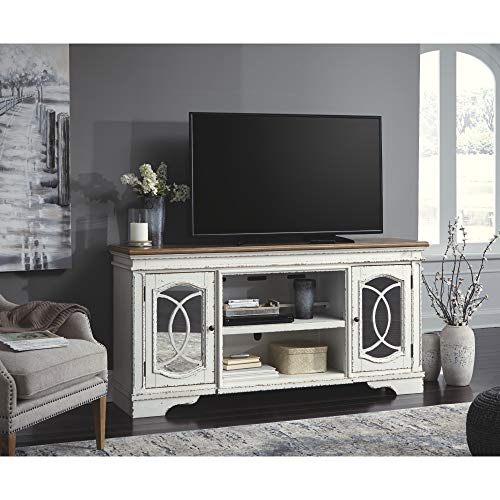 Signature Design By Ashley Realyn Extra Large TV Stand With Fireplace Option Chipped White 0 2
