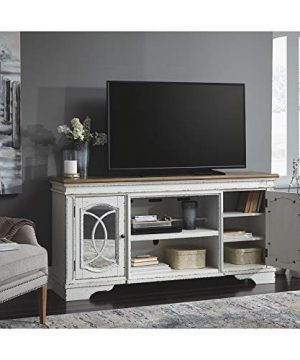 Signature Design By Ashley Realyn Extra Large TV Stand With Fireplace Option Chipped White 0 3 300x360