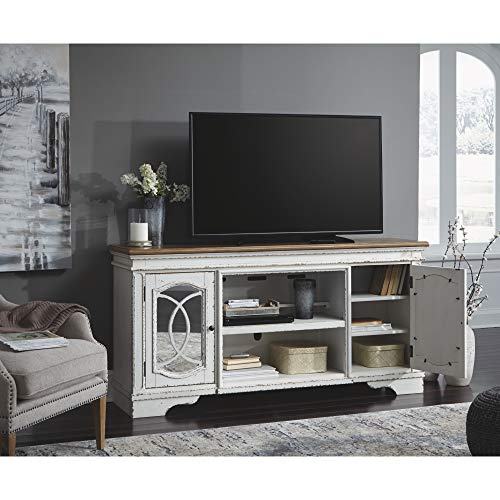 Signature Design By Ashley Realyn Extra Large TV Stand With Fireplace Option Chipped White 0 3