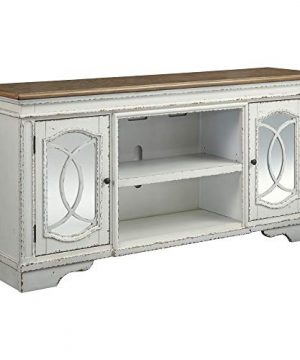 Signature Design By Ashley Realyn Extra Large TV Stand With Fireplace Option Chipped White 0 300x360