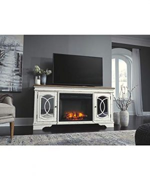 Signature Design By Ashley Realyn Extra Large TV Stand With Fireplace Option Chipped White 0 4 300x360