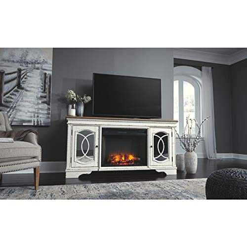 Signature Design By Ashley Realyn Extra Large TV Stand With Fireplace Option Chipped White 0 4