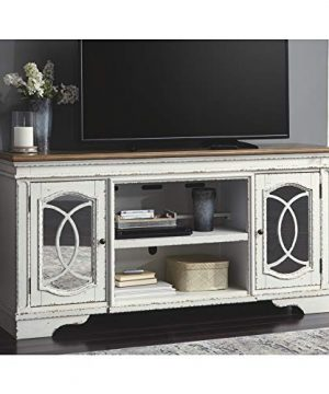 Signature Design By Ashley Realyn Extra Large TV Stand With Fireplace Option Chipped White 0 5 300x360