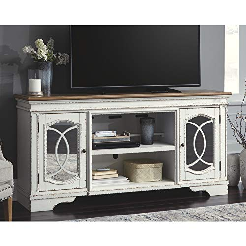 Signature Design By Ashley Realyn Extra Large TV Stand With Fireplace Option Chipped White 0 5