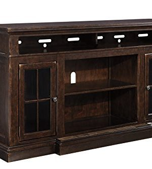 Signature Design By Ashley Roddinton Extra Large TV Stand With Fireplace Option Dark Brown 0 300x333