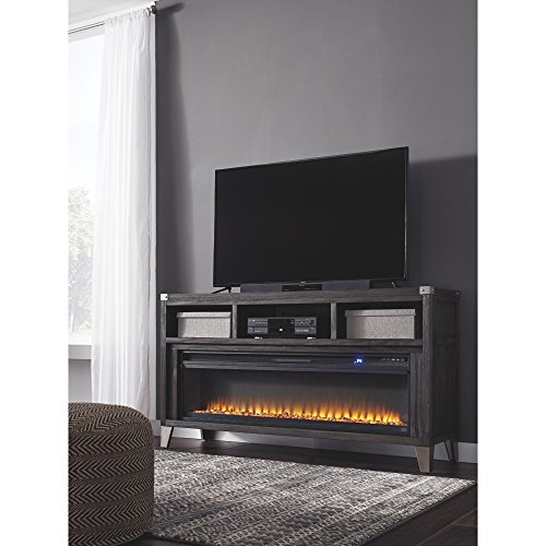 Signature Design By Ashley Todoe Large TV Stand With Fireplace Option Gray 0 1