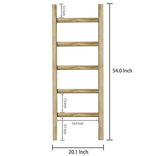 SoFlo Rustic Blanket Ladder Modern Wooden Ladder Neutral Color Trendy Decor Quilt Holder Towel Organizer Farmhouse Bathroom Decorative Leaning Wood Rack Brown 0 0