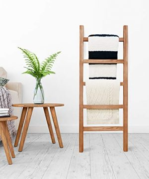 SoFlo Rustic Blanket Ladder Modern Wooden Ladder Neutral Color Trendy Decor Quilt Holder Towel Organizer Farmhouse Bathroom Decorative Leaning Wood Rack Brown 0 1 300x360