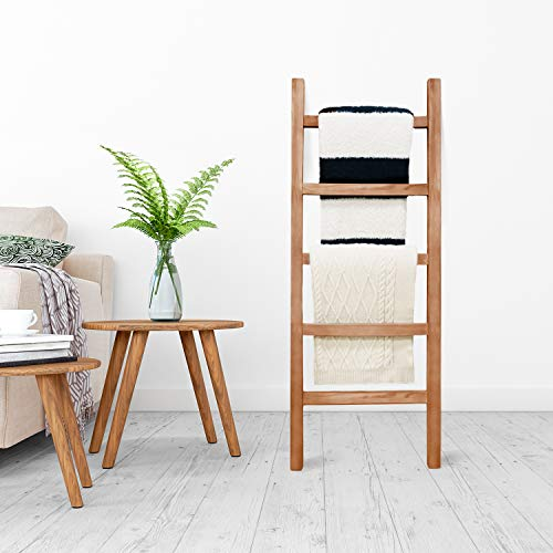 SoFlo Rustic Blanket Ladder Modern Wooden Ladder Neutral Color Trendy Decor Quilt Holder Towel Organizer Farmhouse Bathroom Decorative Leaning Wood Rack Brown 0 1