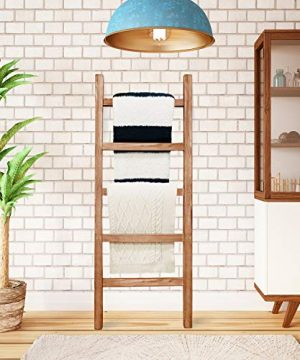 SoFlo Rustic Blanket Ladder Modern Wooden Ladder Neutral Color Trendy Decor Quilt Holder Towel Organizer Farmhouse Bathroom Decorative Leaning Wood Rack Brown 0 300x360