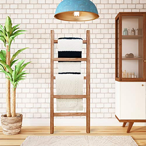 SoFlo Rustic Blanket Ladder Modern Wooden Ladder Neutral Color Trendy Decor Quilt Holder Towel Organizer Farmhouse Bathroom Decorative Leaning Wood Rack Brown 0