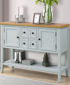 Sofa Table Buffet Table Console Tables With Four Storage Drawers Two Cabinets And Bottom Shelf Lime White 0 300x360