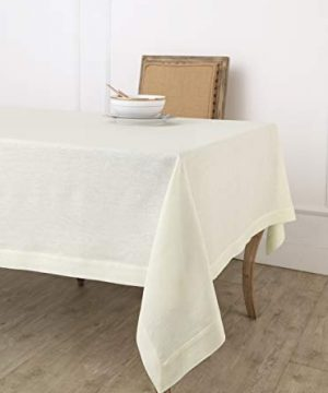 Solino Home 100 Linen Tablecloth 60 X 102 Inch Ivory Natural Fabric European Flax Athena Rectangular Tablecloth For Indoor And Outdoor Use 0 300x360