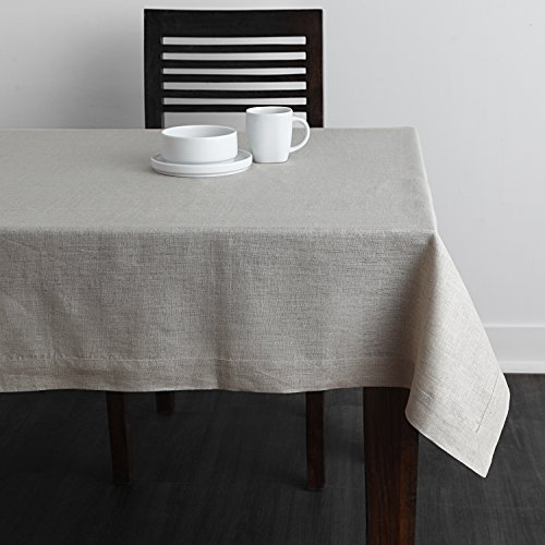 Solino Home 100 Linen Tablecloth 60 X 144 Inch Natural Natural Fabric European Flax Athena Rectangular Tablecloth For Indoor And Outdoor Use 0