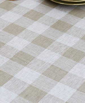 Solino Home 100 Pure Linen Buffalo Check Tablecloth 60 X 120 Inch Natural White Rectangular Linen Tablecloth For Indoor And Outdoor Use 0 0 300x360