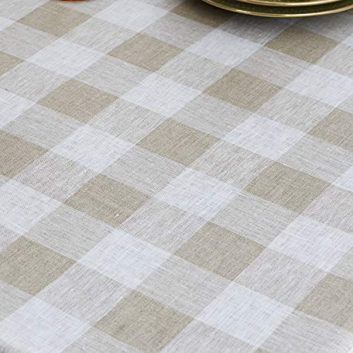 Solino Home 100 Pure Linen Buffalo Check Tablecloth 60 X 120 Inch Natural White Rectangular Linen Tablecloth For Indoor And Outdoor Use 0 0