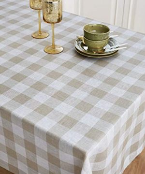 Solino Home 100 Pure Linen Buffalo Check Tablecloth 60 X 120 Inch Natural White Rectangular Linen Tablecloth For Indoor And Outdoor Use 0 1 300x360