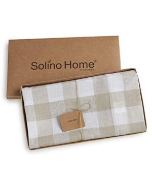 Solino Home 100 Pure Linen Buffalo Check Tablecloth 60 X 120 Inch Natural White Rectangular Linen Tablecloth For Indoor And Outdoor Use 0 2 300x360