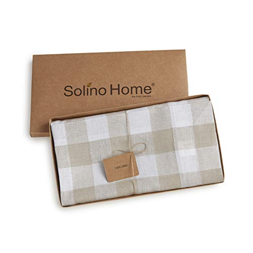 Solino Home 100 Pure Linen Buffalo Check Tablecloth 60 X 120 Inch Natural White Rectangular Linen Tablecloth For Indoor And Outdoor Use 0 2