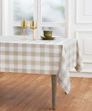 Solino Home 100 Pure Linen Buffalo Check Tablecloth 60 X 120 Inch Natural White Rectangular Linen Tablecloth For Indoor And Outdoor Use 0 300x360