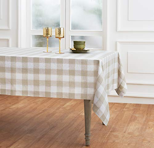 Solino Home 100 Pure Linen Buffalo Check Tablecloth 60 X 120 Inch Natural White Rectangular Linen Tablecloth For Indoor And Outdoor Use 0