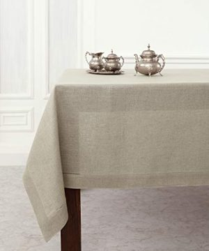 Solino Home Hemstitch Linen Tablecloth 60 X 120 Inch 100 Pure Linen Natural Tablecloth For Indoor And Outdoor Use 0 300x360