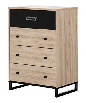 South Shore Induzy 4 Drawer Chest Rustic Oak And Matte Black 0 300x360