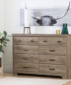 South Shore Versa Collection 8 Drawer Double Dresser Weathered Oak With Antique Handles 0 0 300x360