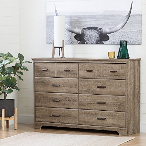 South Shore Versa Collection 8 Drawer Double Dresser Weathered Oak With Antique Handles 0 0