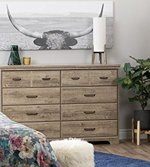 South Shore Versa Collection 8 Drawer Double Dresser Weathered Oak With Antique Handles 0 1 300x333