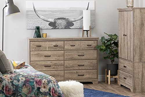 South Shore Versa Collection 8 Drawer Double Dresser Weathered Oak With Antique Handles 0 1