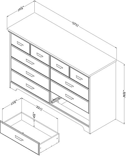 South Shore Versa Collection 8 Drawer Double Dresser Weathered Oak With Antique Handles 0 3